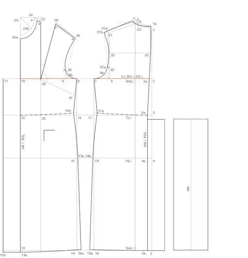 Zu sehen ist die abgebildete Schnittaufstellung des Grundschnittes Doppelreiher