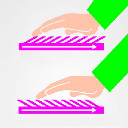Es ist ein Florgwebe mit der Strichrichtung in Form einer technischen Zeichnung zu sehen.
