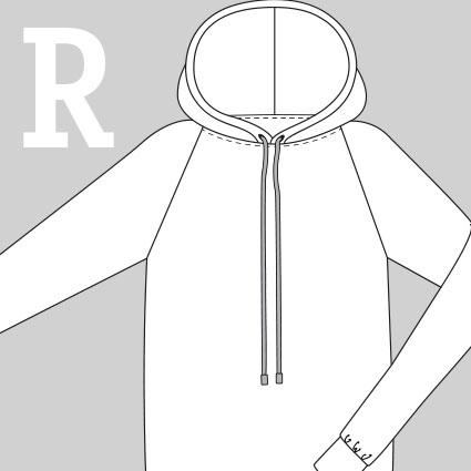 Eine technische Zeichnung eines Pullovers mit einem Raglanärmel ist zu sehen.