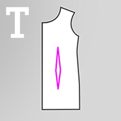 Eine technische Zeichnung zeigt den Taillenabnäher in einem Vorderteil Schnittteil.